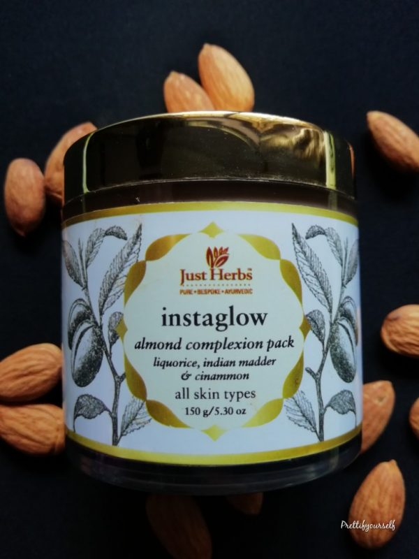 just herbs almond instaglow face pack e1536909188828