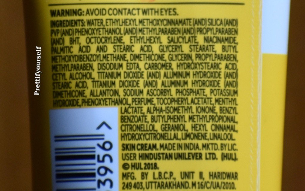 INGREDIENTS OF PONDS SUNSCREEN 1