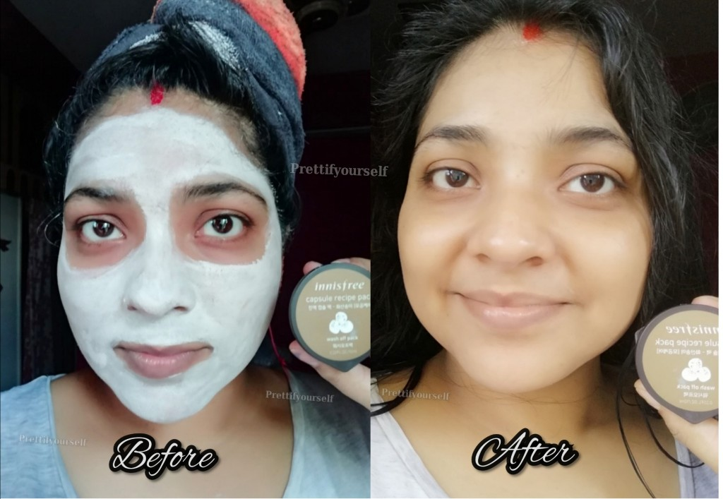 before and After effect of Innisfree Capsule recipe pack volcanic cluster