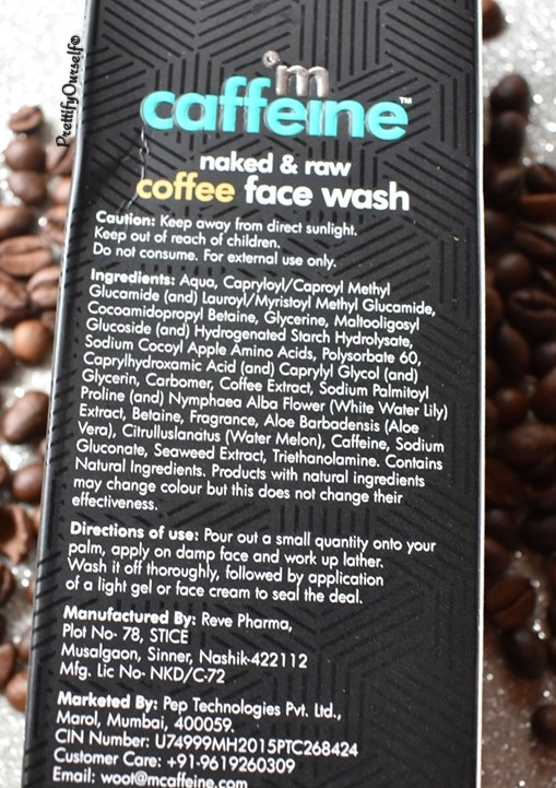 ingredients of mcaffeine face wash