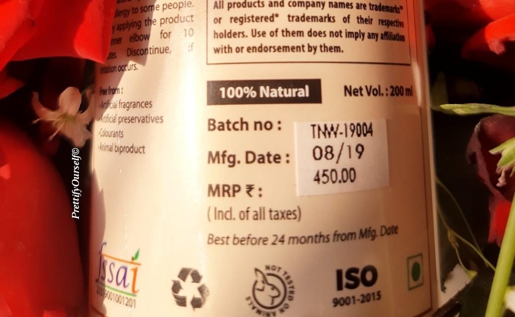 TNW Steam Distilled Rose Water Price