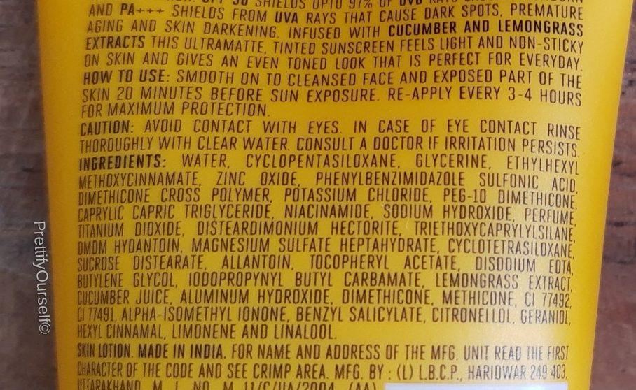 ingredients of lakme sun expert tinted sunscreen spf 50