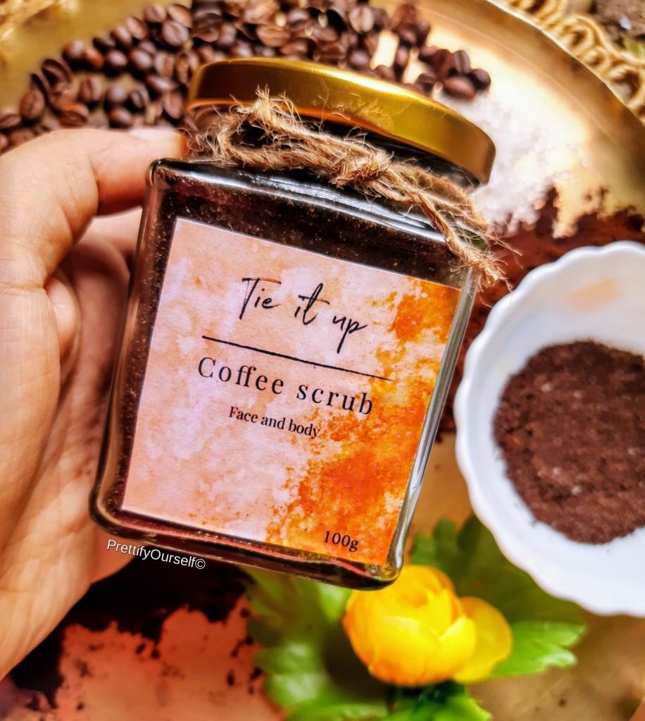 packaging of tie it up coffee scrub