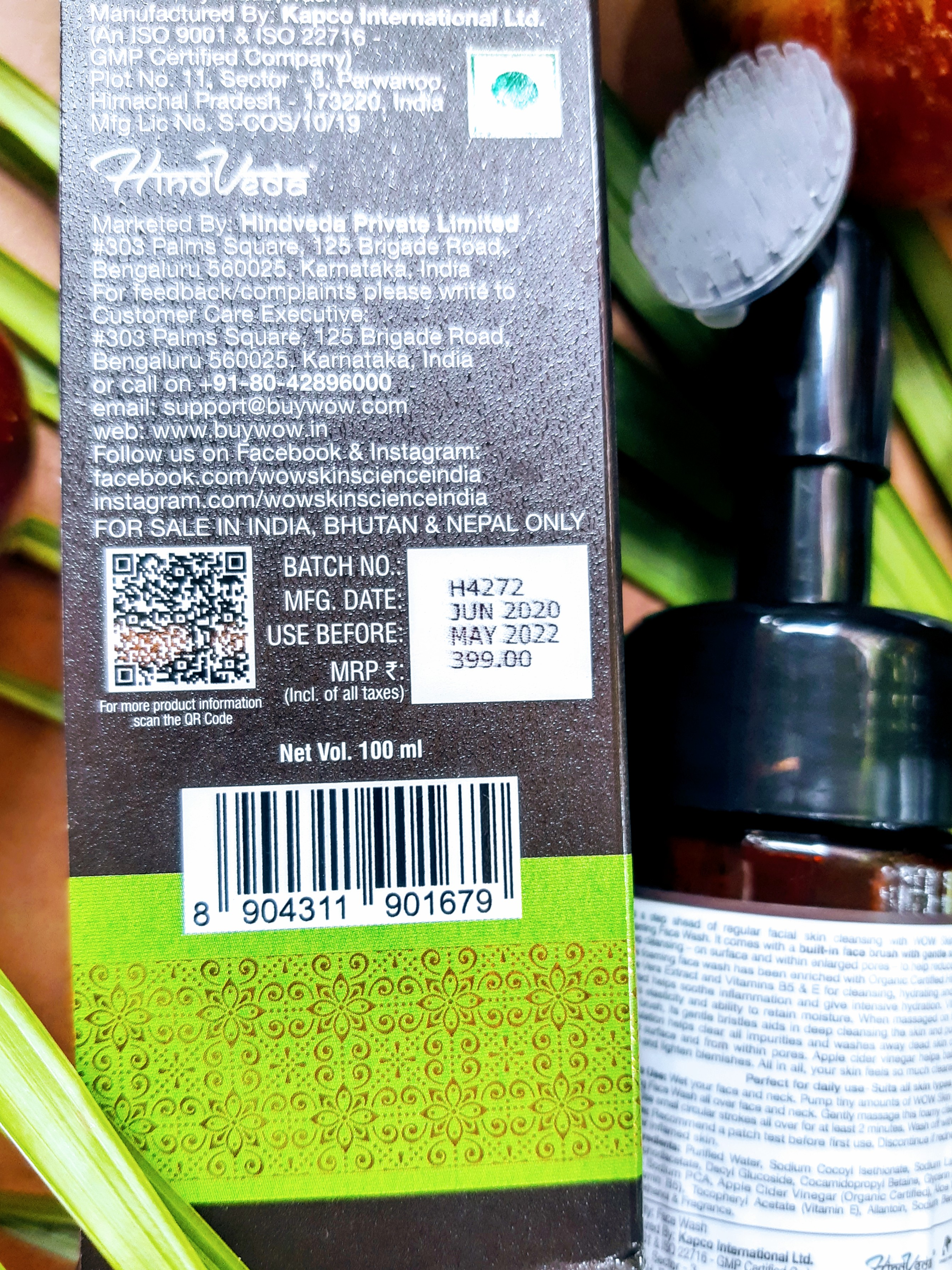 price of WOW Apple Cider Vinegar Foaming Face Wash with the built-in brush