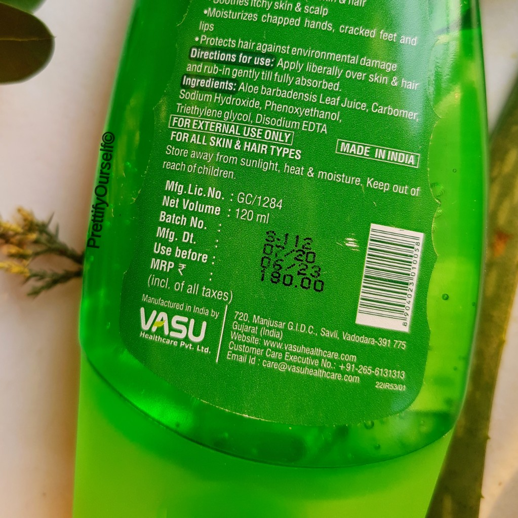 Vasu Aloe Vera Gel price
