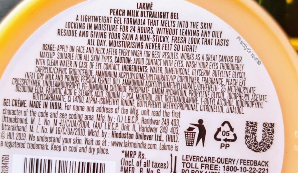 lakme peach milk ultra light gel moisturizer ingredients