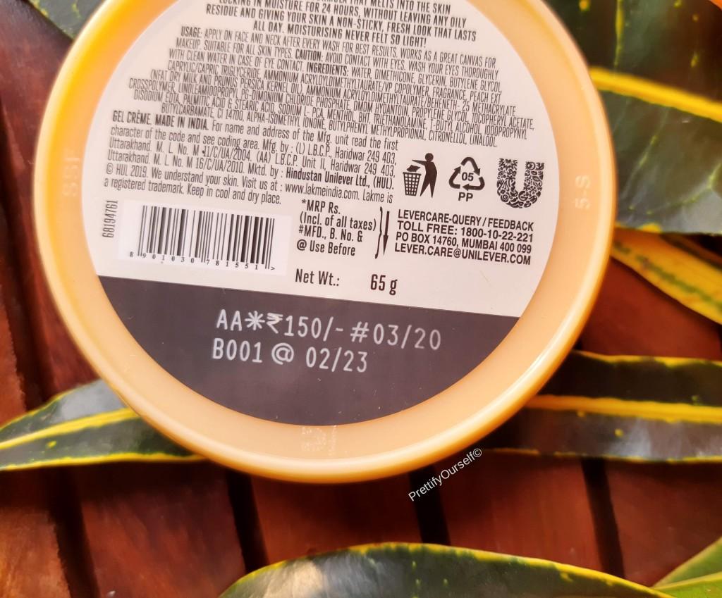 lakme peach milk ultra light gel moisturizer price
