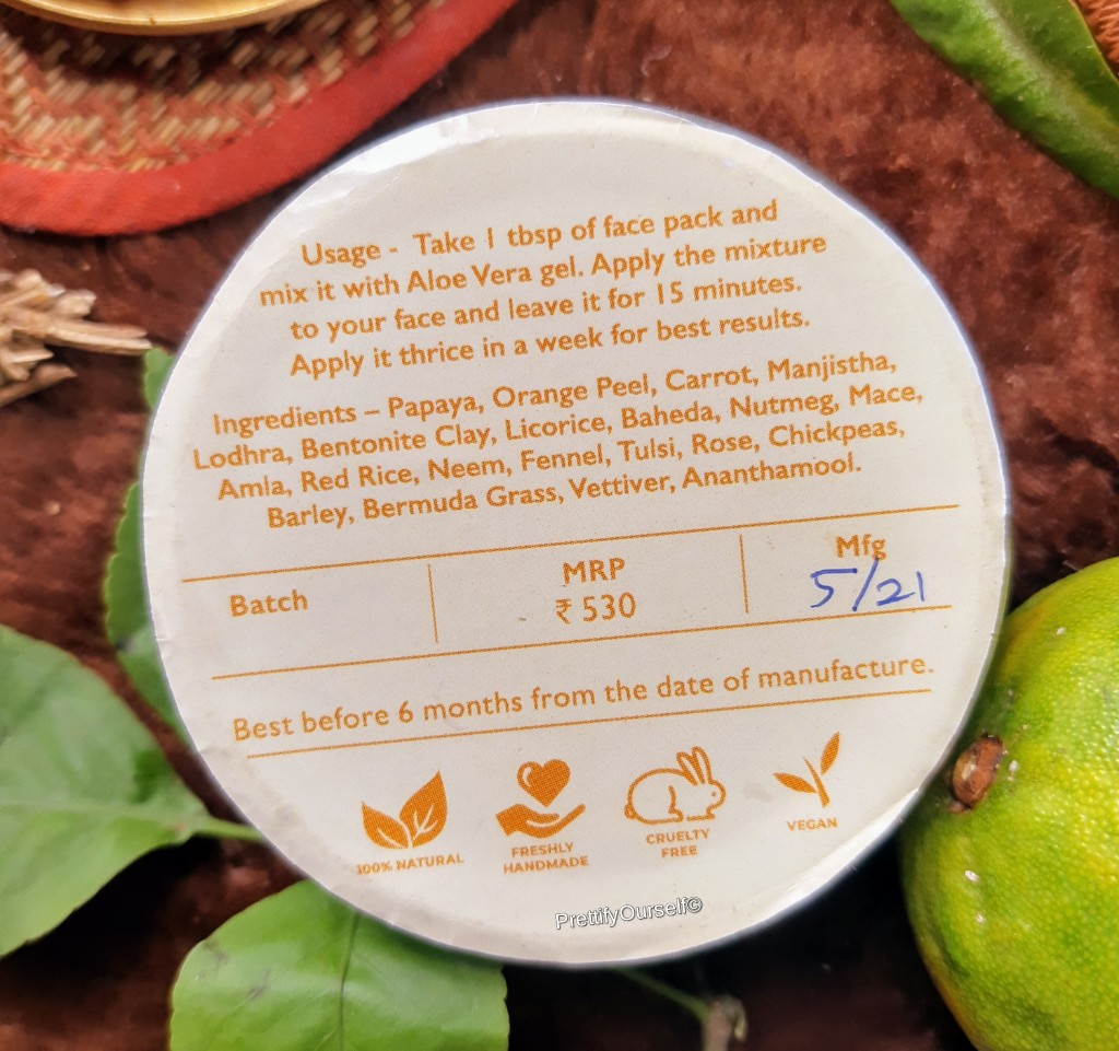ingredients of wild organica home brightening face pack