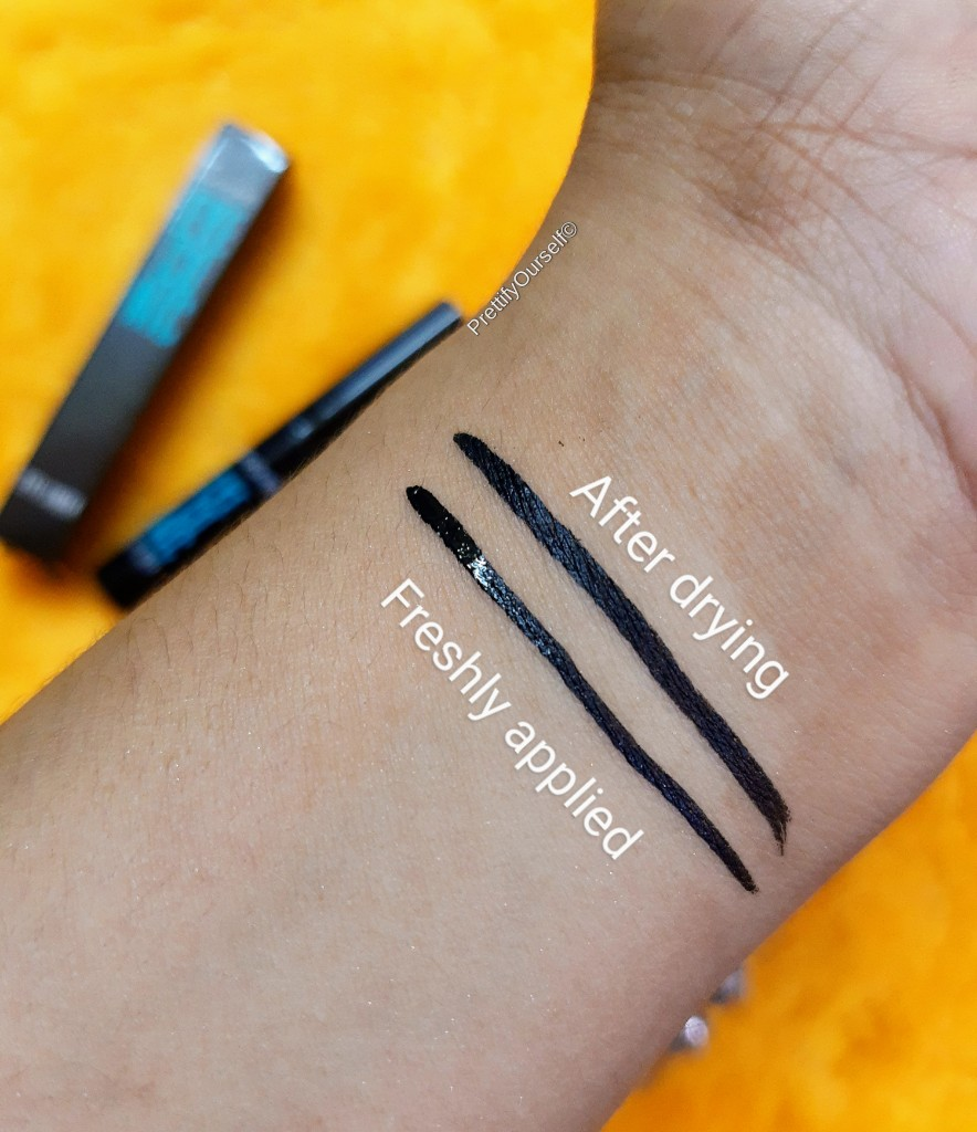 swatches of Lakme eyeconic eyeliner